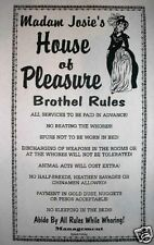 """(265L) OLD WEST BROTHEL RULES TOMBSTONE MADAM JOSIE'S WHOREHOUSE POSTER 11""""x17"""""""
