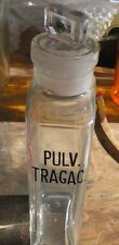 RARE OOAK Vintage PULV. TRAGAC. Apothecary Bottle Crystal Clear Glass w/ stopper