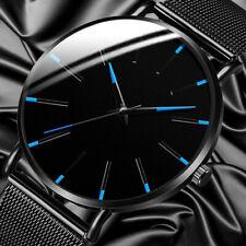 Trendy Men Ultra Thin Minimalist Stainless Steel Quartz Watch Slim Steel Strap.