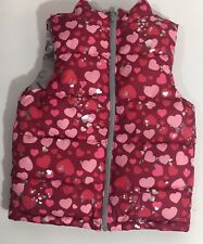 Toddler Girl Hearts Reversible Puffer Vest size 24 months Valentines Pink Silver