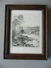 Rydal Water, Lake District Landscape. Donald Crawford Signed Etching