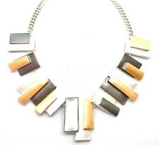 Enamel Painted Geometric Rectangles Necklace - Silver, Grey & Gold