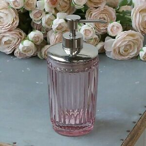 Vintage Antique Style Glass Soap Lotion Dispenser - Rose Pink