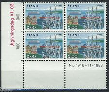 Aland/Åland 1984, Ships MNH in marginblock of four 3