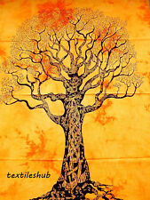 Dry Tree Indian Hanging Cotton Wall Tapestry Poster Yellow Decor Throw