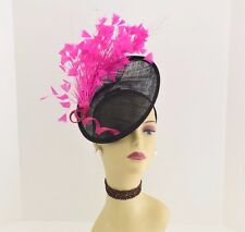 Kentucky Derby Wedding Sinamay feathers Fascinator Cocktail 617 (Black/Fuschia )