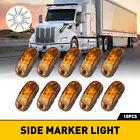 10 Amber 2-led Oval Side Marker Lights Truck Trailer Clearance Light Waterproof