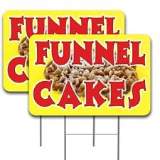 Funnel Cakes 2 Pack Double Sided Yard Signs 16 X 24 With Metal Stakes Made In