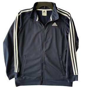 Adidas Youth Track Tricot Three Stripe Navy/White Full Zip Jacket Size 14/16
