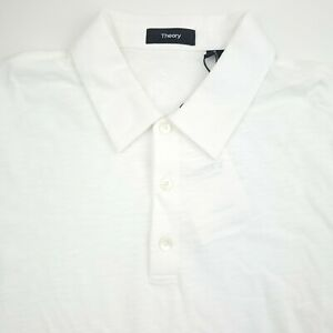 Theory Bron C_Cosmos Short Sleeve Polo Shirt Mens Small White Organic Cotton