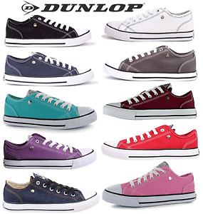 Dunlop or SoulCal low top canvas trainers black white navy teal purple pink red