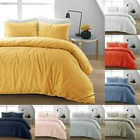 Luxury Natural 100%Linen Cotton Duvet Cover Bedding Set Single Double Super King