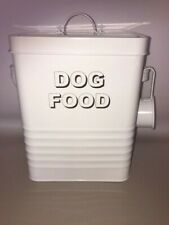Vintage Style White DOG FOOD Metal Tin Storage & Scoop Dry Food Pouche LAST ONE