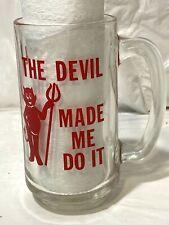 "Vtg ""The Devil Made Me Do It"" Glass Beer Stein Mug w Handle Red Devil Halloween"