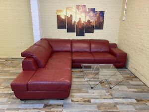 Sensual Red Leather Corner Sofa