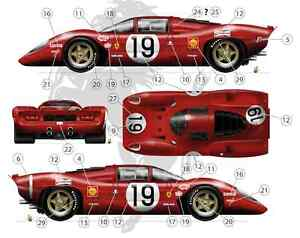 [FFSMC Productions] Decals 1/32 Ferrari 312P 18 et 19 des 24 Heures du Mans 1969