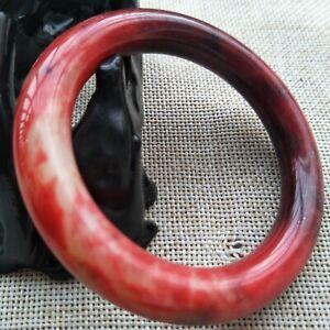 Jade Bracelet 55mm Genuine 100% Natural Red Xiu Jade Bangle Bracelet Handmade 06