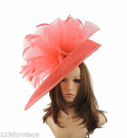 Coral Pink Large Ascot Hat for Weddings, Ascot, Derby M10
