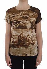 NUOVA CON ETICHETTA DOLCE & GABBANA Taormina seta girocollo t-shirt camicetta
