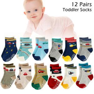 12 Paar Baby Jungen Mädchen Kinder Socken Strümpfe Anti Rutsch ABS Baumwolle .DE
