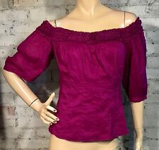 CATHERINE MALANDRINO OFF SHOULDER TOP 6 (M) BLOUSE SHIRT RUFFLE PURPLE COTTON