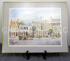 "28""x22"" Gold Framed Watercolor Print ""South Battery"" Charleston SC by Ed Emerson"