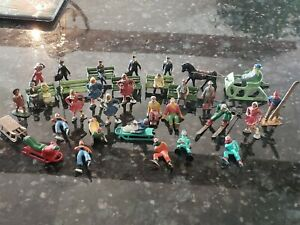 Vintage Lead Figure Lot Barclay + Skaters Skiiers Sleigh Workers Sitters Benches