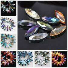 10pcs 22x7mm Faceted Crystal Glass Loose Pendants Beads for Jewelry Making