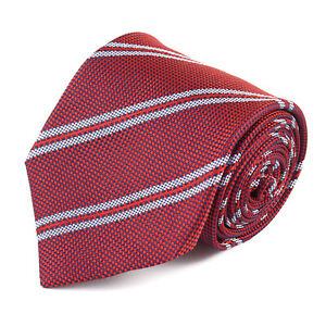 Luigi Borrelli Napoli Navy and Red Woven Silk Tie with White Stripe NWT