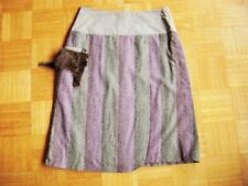 @ Hand Made @ High Quality Skirt Grey Purple with fur Size 44 XXL UK 18 Us 16