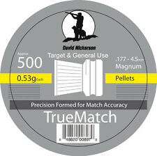 David Nickerson Tin of 500 True Match Air Rifle Gun Target Shooting .177 Pellets