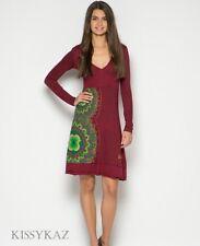DESIGUAL Maroon Burgundy Wine & Green Stretch MARSELLA  Jersey Dress XL 16 BNWT