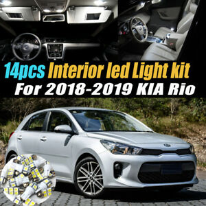 14Pc Super White Car Interior LED Light Bulb Kit Pack for 2018-2019 KIA Rio