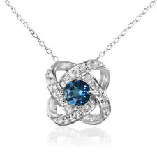 Sterling Silver London Blue and White Topaz Love Knot Necklace