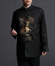 Stylish Black Kung Fu Men's Blazer Padded Jacket Dragon Shirt - 100% Silk #104