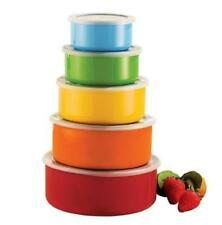 MULTICOLOUR BOWL SET 5PC S/STEEL WITH PLASTIC LIDS KITCHEN STORAGE CONTAINER CHN