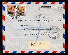 Belgian Congo Registered Airmail Cover Franked with Sc#279 12/13/58 Bunia-London
