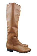 JACQUES LOUP Brown Leather Knee High Slip-on Boots (38.5)