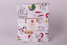 NWT Pottery Barn Kids Peanuts Holiday Full cotton sheet set Christmas Snoopy