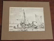OLD MASTER STYLE ORIGINAL 18/19TH CENTURY HARBOUR SHIPS SCENE FINE PEN & INK