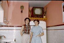35mm vintage red border Kodachrome- old fashioned kitchen-Admiral refrigeratorTV