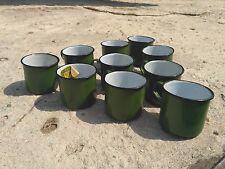 LOT x 10 VINTAGE USSR SOVIET RUSSIAN ENAMEL MUG CUP ARMY 10 ps.