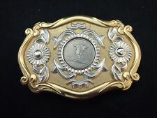 "Montana 1889 2007 E Pluribus Unum Cow Skull Coin In Belt Buckle 3 3/4"" x 2 3/4"""