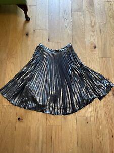Topshop Metallic Silver Pleated Swing Skirt Size 12