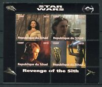 Chad 2015 MNH Star Wars Revenge of Sith Anakin Skywalker Padme 4v M/S Stamps