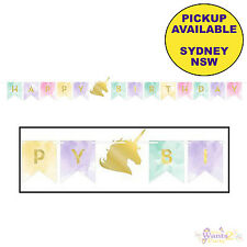 UNICORN SPARKLE PARTY SUPPLIES FOIL STAMPED HAPPY BIRTHDAY BANNER DECORATIONS