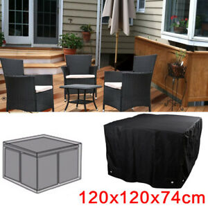 120x120x74cm Waterproof Garden Patio Furniture Cover Rattan Table and Sofa Cover