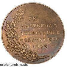 NETHERLANDS WILHELMINA AMSTERDAM 6 SEPTEMBER 1898 INAUGURATION MEDAL TOKEN Z582