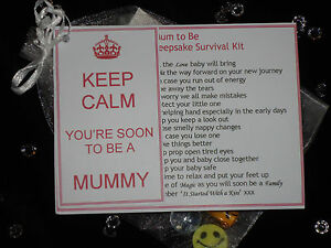 Mum to Be Dad to Be Novelty Keepsake Survival Kit Gift Card for Baby Shower