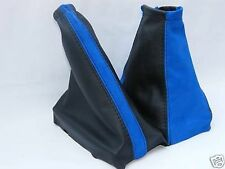 FITS ASTRA G  COUPE GEAR & HANDBRAKE GAITERS BLACK  LEATHER BLUE PU SUEDE